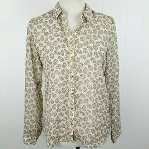ZARA Trafaluc Womens Sheer Ivory LS Blouse Black S